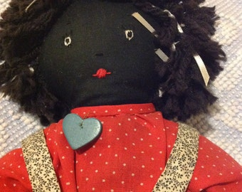 Hand made black doll, Americana, country doll, red dress and bloomers