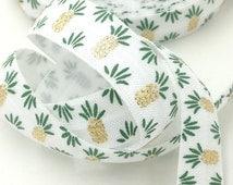 "5 yards White 5/8"" Fold over elastic Green/Gold foil Pineapple FOE, Elastic Hair tie,elastic supplier,"