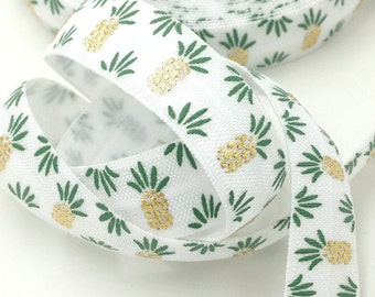 "5 yards White 5/8"" Fold over elastic Green/Gold foil Pineapple FOE, Elastic Hair tie,elastic supplier,"