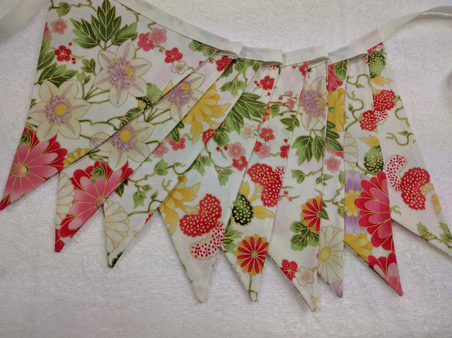 Oriental themed fabric bunting wedding banner baby shower for Baby themed fabric