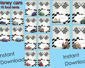 Disney cars Food Labels, Food Tents Cards Tags, Disney cars Party Printable, INSTANT DOWNLOAD,