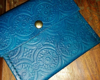 Handmade Evening Blue small leather clutch with brass snap.