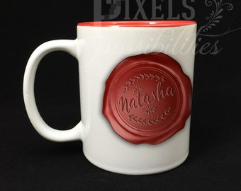 Two-Toned Red Ceramic Mug Personalized 11 oz. (Wax Seal Design - Add Your Name)