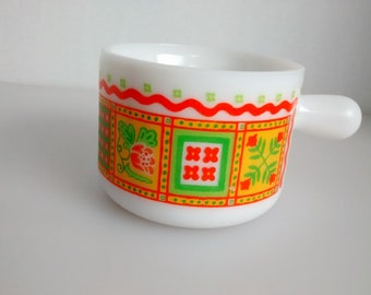 Avon milk glass mug container orange yellow green 1970s