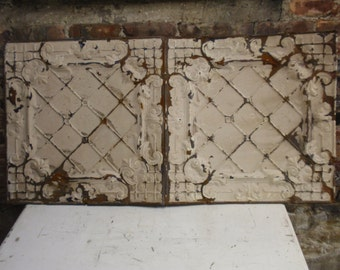Antique Architectural Salvage Ceiling Tin Chippy Paint 24x48