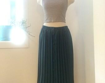 Vintage green silk pleaded skirt