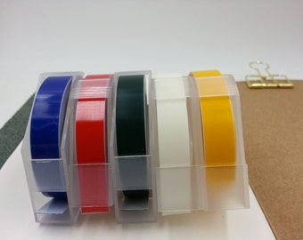 NEW Motex 5pcs Standard Pack Embossing Label Maker Refill Tapes Set (9mm x 3m)
