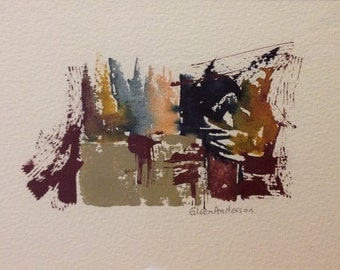 giclee reproduction of original watercolor of small abstract 2