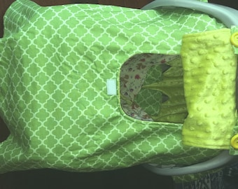 Baby Car Seat Canopy with Window and Pockets