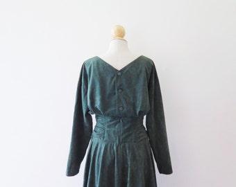 20% OFF - Vintage 1970s Dark Green Velvet Evening Dress / Japanese Vintage / xs s small / uk 6 8