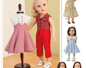 """Sewing Pattern for 18"""" Doll Dresses , Simplicity Pattern 1086, Vintage 50's inspired Patterns, 18 inch Doll Wardrobe"""