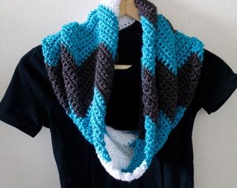 Crochet Cowl, Crochet Infinity Scarf, Handmade Scarf, Chevron Scarf, Blue Scarf, Gray Scarf, Circle Scarf, Loop Scarf, Striped Scarf