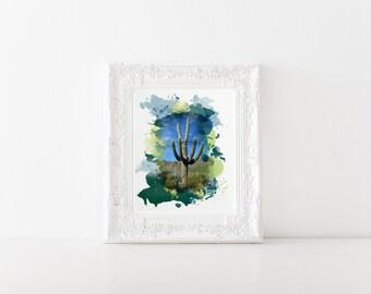 Watercolor Saguaro Print