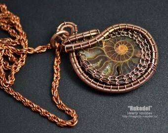 Wire Wrap Pendant. Ammonite fossil slice Madagascar.
