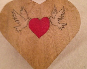 Heart Box with Doves and Red Heart