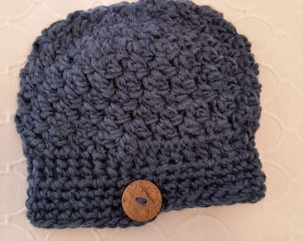 Antique Blue Slouchy Cloche - handmade