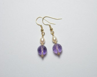 Earrings of Amethyst, Cultured Pearls and gold-filled beads