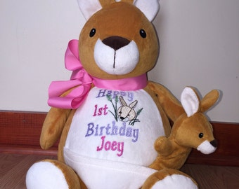 18 inch personalized stuffed kangaroo and baby