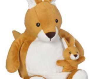 18 inch personalized stuffed kangaroo and baby
