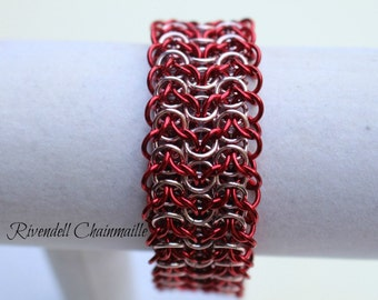 Red & Silverish/Pink Chainmaille Cuff Bracelet