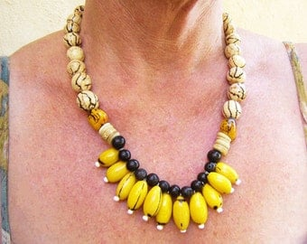 Ethnic Necklace From Bombona Seeds, Ethnic and Tribal Jewelry,Re-Cycled Statement Necklace ,Colombian Fashion Jewelry Eco-Friendly Fashion,