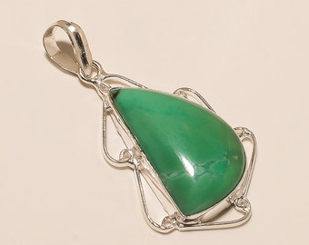 Green Apatite Pendant 925 sterling silver OVERLAY handmade Jewelry Moons Shape 8.5 GM S0766