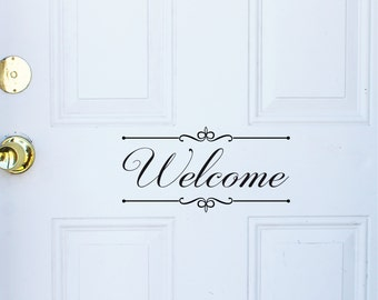 welcome decal front door, welcome wall decal, welcome door decal, Welcome Decor, Door quote decal, window Decal, office entry sign sticker