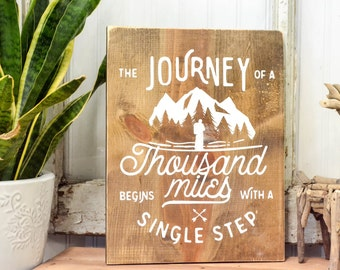 Wood Sign Sayings | Rustic Home Decor | Cottage Home Decor | Wood Sign | Country Home | Journey of a Thousand Miles Wall Hanging
