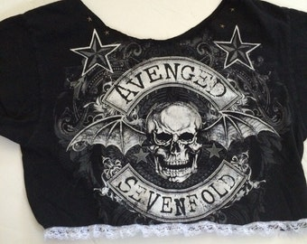Vintage and reworked avenge sevenfold cropped and short sleeve tee