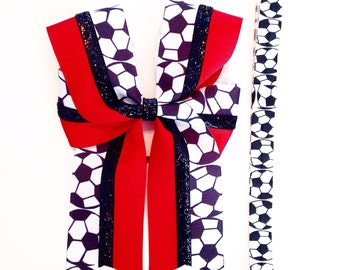 Sports bow & headband set-  Soccer bow - Sports - Your choice of color