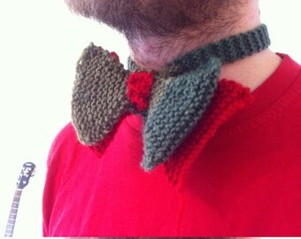 Knitted Bow Tie #1 - red and green