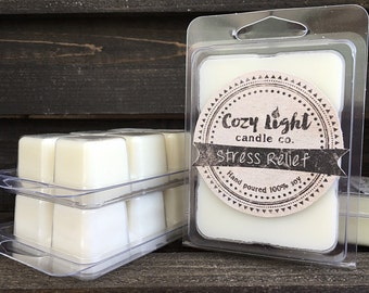 Stress Relief Soy Tart Wax Melts | Hand Poured | Clamshell Melts