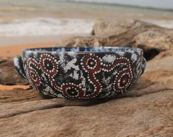 Hand painted Aboriginal home decor bowl