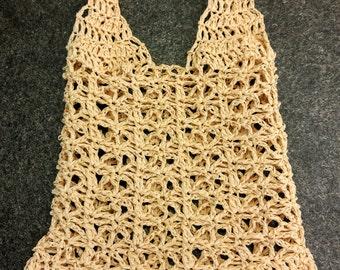 Handmade Crochet 100% Raffia Bag (Beige) - can be use as potatoes / onion bag