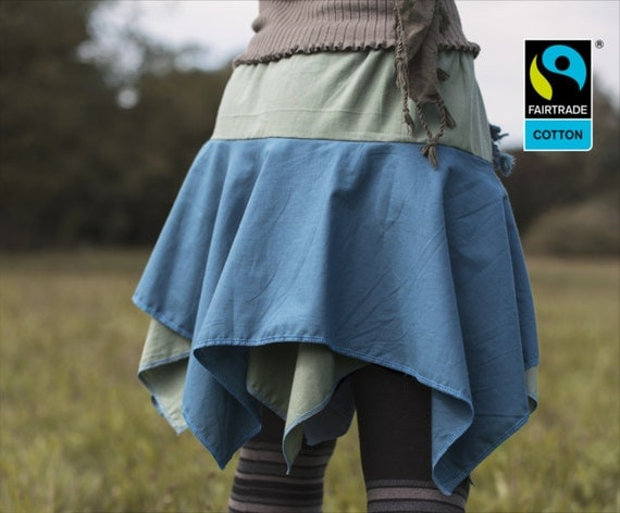 fairtrade skirt in moss and petrol with lappet