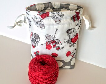 Knitting Project Bag / Drawstring Yarn Bag / Knitting Tote / Craft Tote / Notions Case / Sheep / Wool / Project Bag