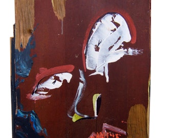 painting on wood panel - title: feline