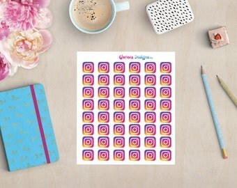 Instagram Planner Stickers, Social Media Icon Stickers, Happy Planner, Erin Condren Stickers