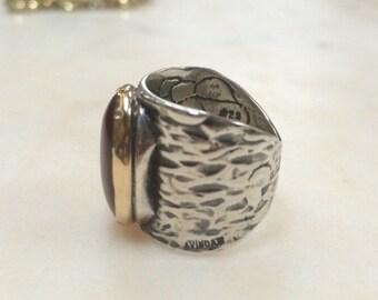 Israeli AVINOAM 14k and Sterling Silver Stone Ring