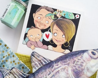 Personalized family illustration with three subjects, DILISA