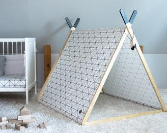 Childrens play tent, indoor tent, kids house, clothes hanger, geometric pattern