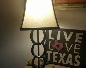 Gorgeous Handcrafted Horseshoe Table Lamp