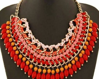 Statement Beaded coral necklace