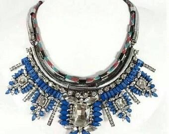 Statement blue gemstone necklace