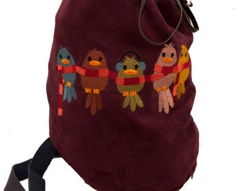 Burgundy purple leather bag scarf buddy embroidery fall winter fashion drawstring duffle duffel bucket bag handstitched bird boho shoulder