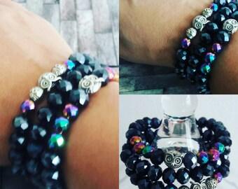 Navy blue triple bracelet