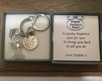 Lucky sixpence Happy Father's Day  Charm keyring