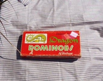 Vintage wooden dominoes. Halsam double nine Dragon dominoes. NO. 920. 55 tiles
