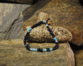 Womens Beaded Bracelet - Blue and Black
