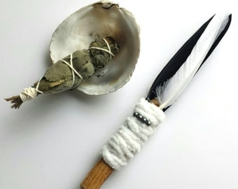 Smudge Feather Natural White and Black Goose Feathers and Driftwood Wand